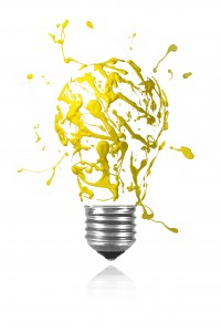 Yellow paint burst made light bulb